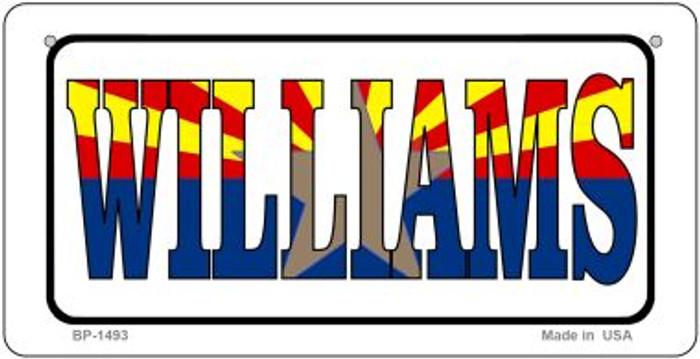 Williams Arizona White Flag Novelty Metal Bicycle Plate BP-1493