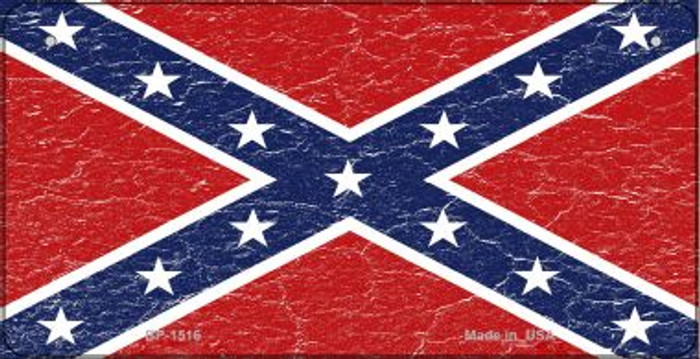 Confederate Flag Distressed Novelty Metal Bicycle Plate BP-1516