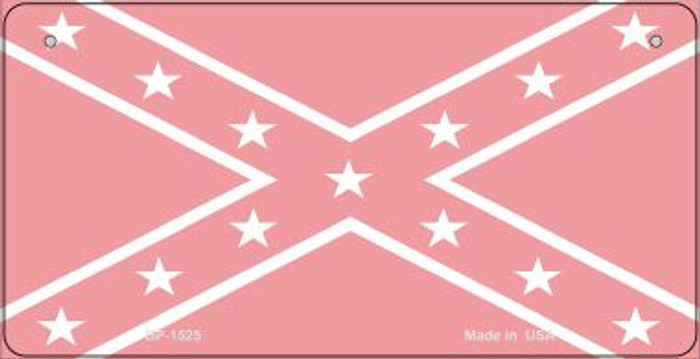 Confederate Flag Pink Novelty Metal Bicycle Plate BP-1525