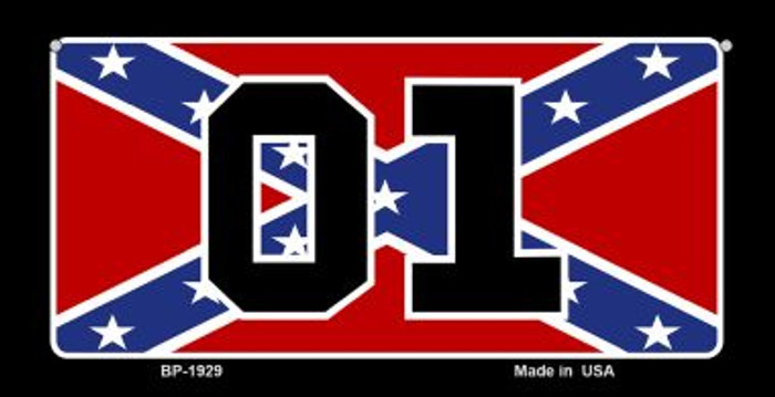 01 Confederate Flag Novelty Metal Bicycle Plate BP-1929