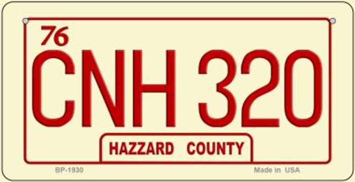CNH 320 Hazzard Country Novelty Metal Bicycle Plate BP-1930