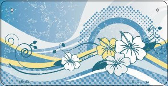 Blue Hawaii Hibiscus Novelty Metal Bicycle Plate BP-2305