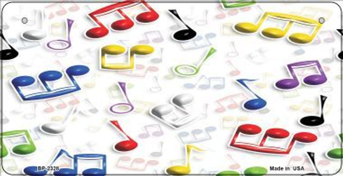 Musical Notes Multi-Color Novelty Metal Bicycle Plate BP-2328