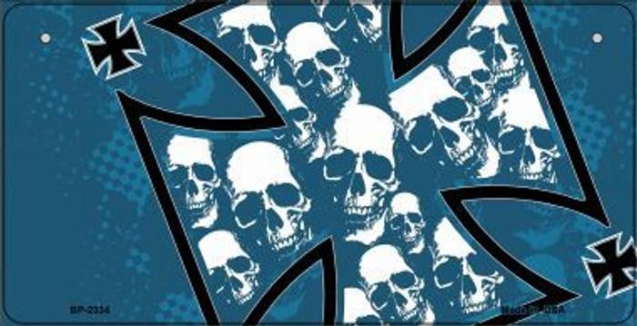 Maltese Cross Skulls Novelty Metal Bicycle Plate BP-2334