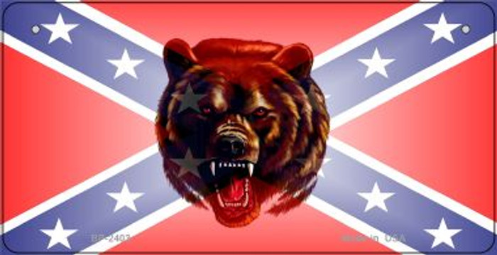 Confederate Bear Novelty Metal Bicycle Plate BP-2403