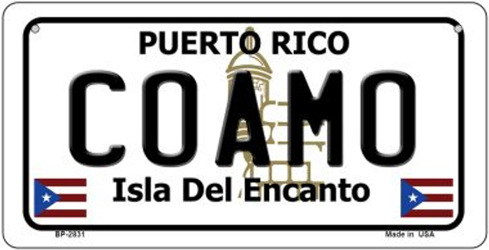 Coamo Puerto Rico Novelty Metal Bicycle Plate BP-2831
