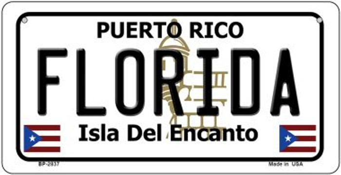 Florida Puerto Rico Novelty Metal Bicycle Plate BP-2837