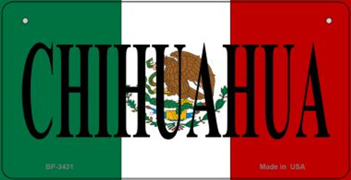Chihuahua Mexico Flag Novelty Metal Bicycle Plate BP-3431