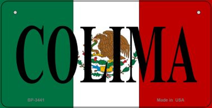 Colima Mexico Flag Novelty Metal Bicycle Plate BP-3441