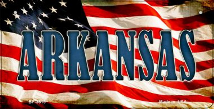 Arkansas US Flag Novelty Metal Bicycle Plate BP-3615