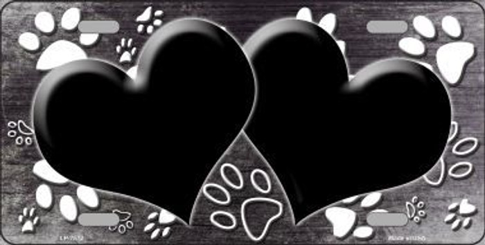 Paw Print Heart Black White Metal Novelty License Plate
