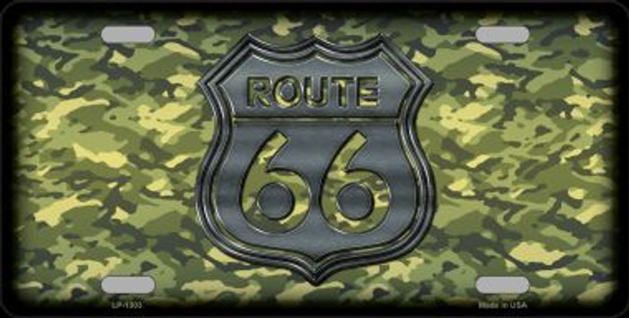 Route 66 Camouflage Novelty Metal License Plate