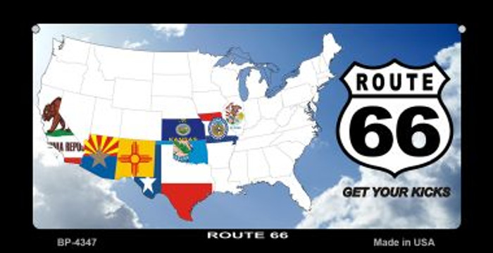RT 66 8 Flags and Clouds Novelty Metal Bicycle Plate BP-4347
