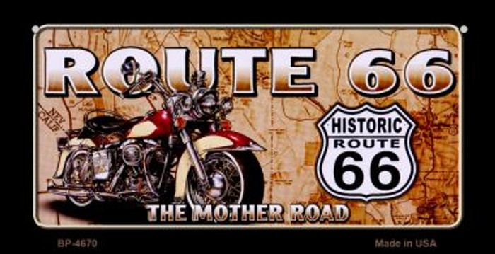 Route 66 Mother Road Motor Cycle Novelty Metal Bicycle Plate BP-4670