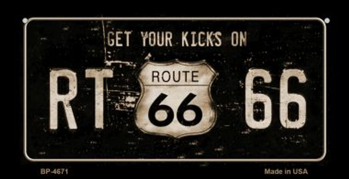 Route 66 Get Your Kicks Novelty Metal Bicycle Plate BP-4671