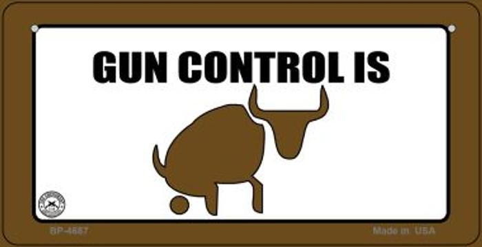 Gun Control Is Bull Novelty Metal Bicycle Plate BP-4687