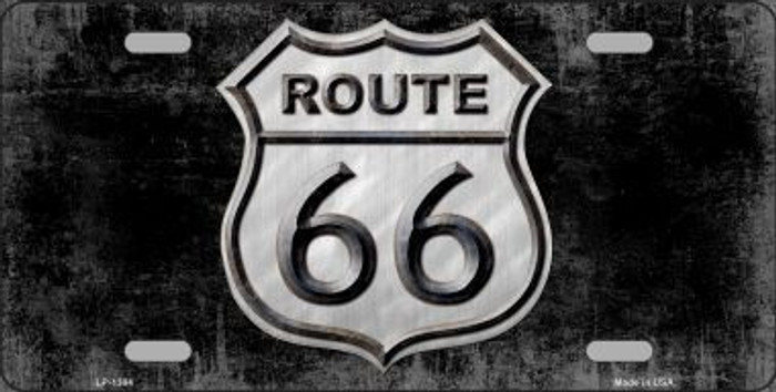 Route 66 Black & White Novelty Metal License Plate