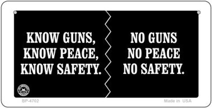 Know Guns No Guns Novelty Metal Bicycle Plate BP-4702