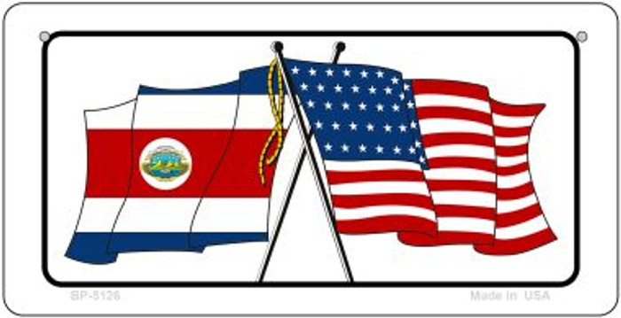 Costa Rica / USA Flag Novelty Metal Bicycle Plate BP-5126