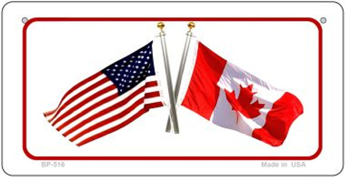 Canada / USA Flag Novelty Metal Bicycle Plate BP-516