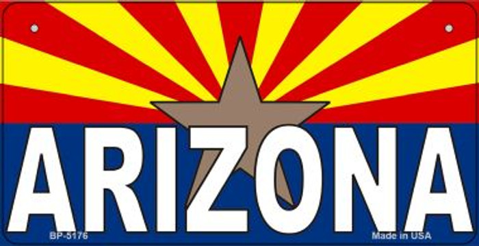 Arizona Flag With Arizona Novelty Metal Bicycle Plate BP-5176