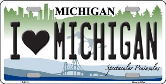 I Love Michigan Metal Novelty License Plate LP-6119