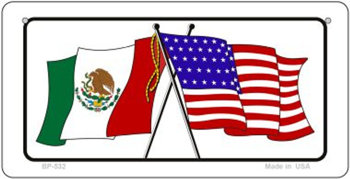 Mexico / USA Flag Novelty Metal Bicycle Plate BP-532