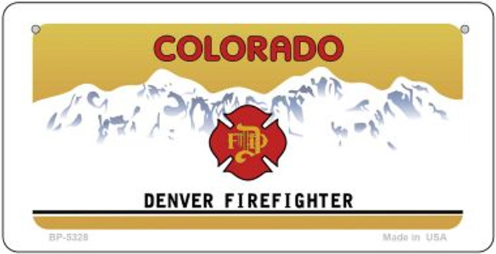 Colorado Denver Firefighter Blank Novelty Metal Bicycle Plate BP-5328