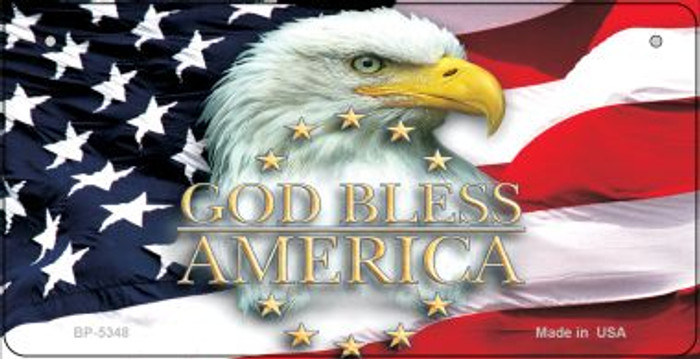 God Bless America Novelty Metal Bicycle Plate BP-5348