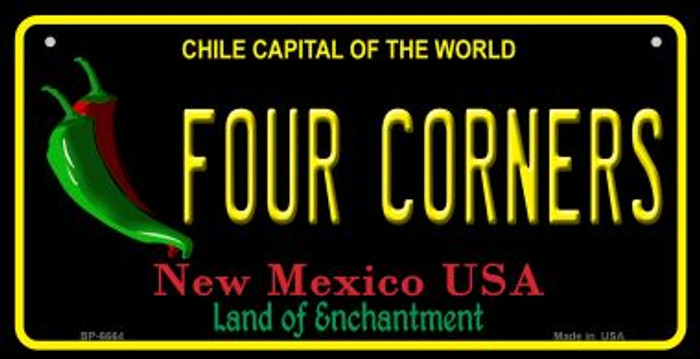 Four Corners Black New Mexico Novelty Metal Bicycle Plate BP-6664