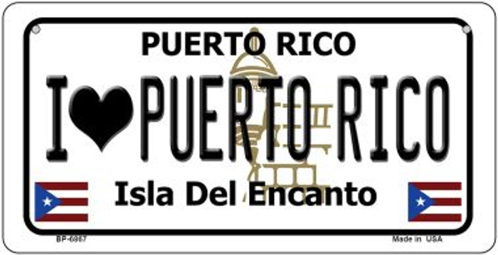 I Love Puerto Rico Puerto Rico State Novelty Metal Bicycle Plate BP-6867