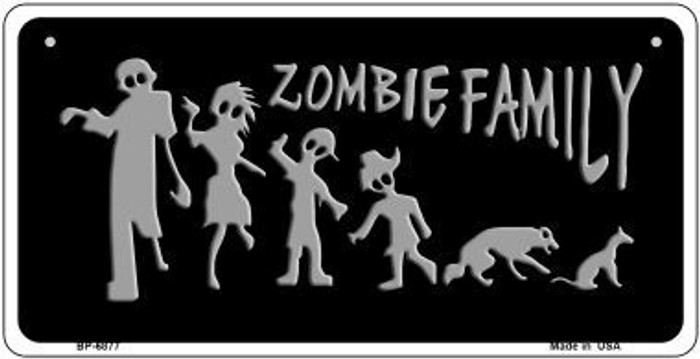 Zombie Family Black Novelty Metal Bicycle Plate BP-6877