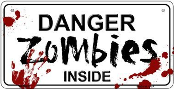 Danger Zombies Inside Novelty Metal Bicycle Plate BP-6880