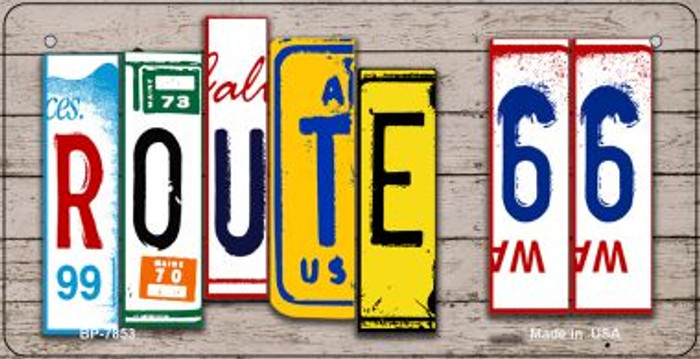 Route 66 Art Novelty Metal Bicycle Plate BP-7853