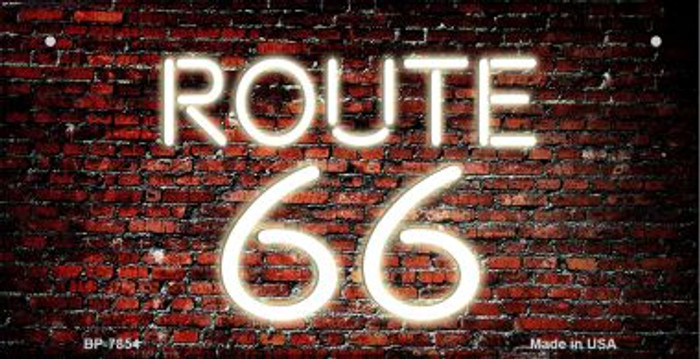 Route 66 Neon Brick Novelty Metal Bicycle Plate BP-7854