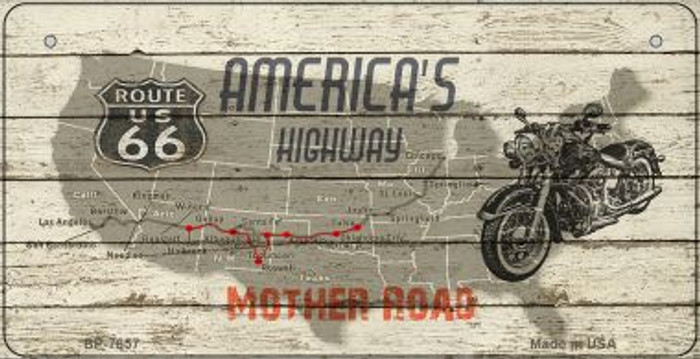 Americas Highway Mother Road Novelty Metal Bicycle Plate BP-7857