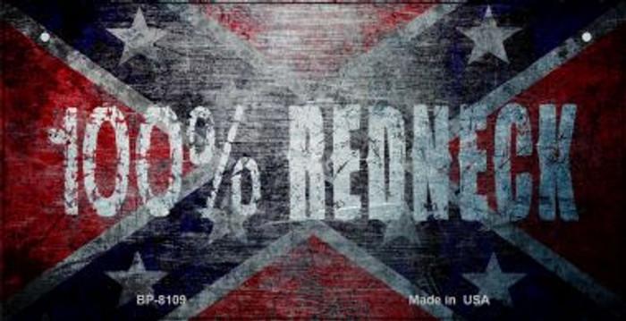 100 Percent Redneck Flag Novelty Metal Bicycle Plate BP-8109