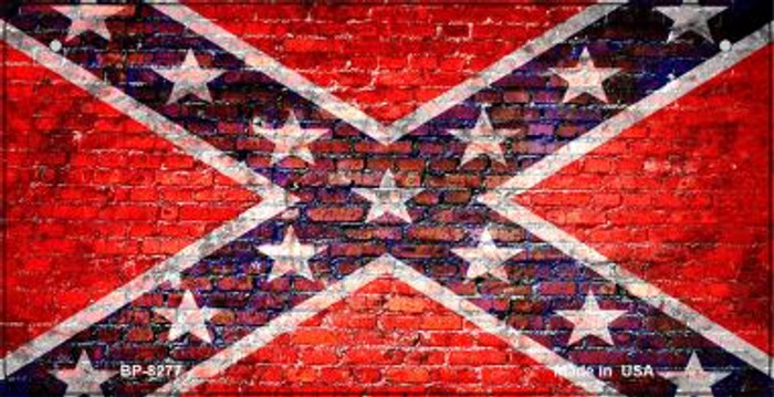 Confederate Flag Brick Wall Novelty Metal Bicycle Plate BP-8277