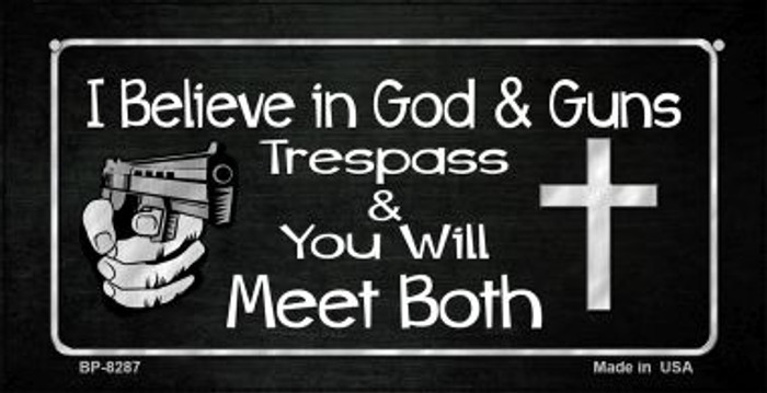 God and Guns Novelty Metal Bicycle Plate BP-8287