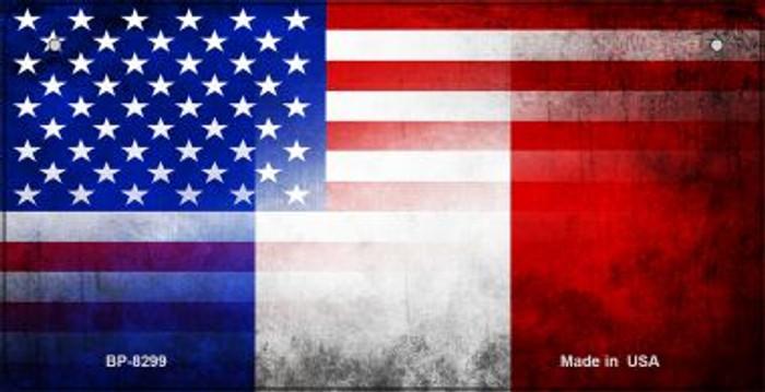 American / France Flag Novelty Metal Bicycle Plate BP-8299