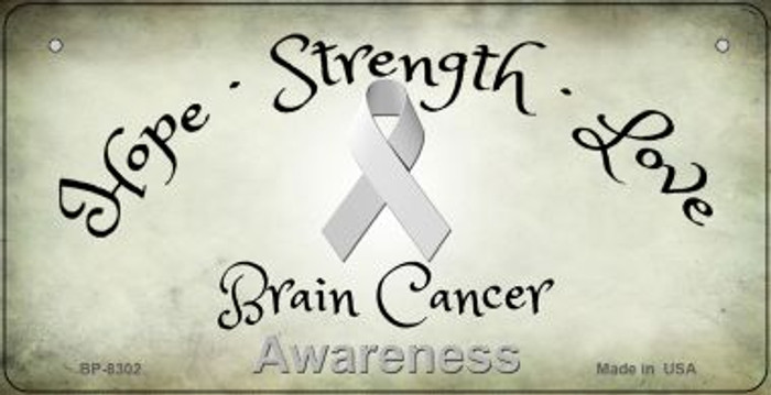 Brain Cancer Ribbon Novelty Metal Bicycle Plate BP-8302