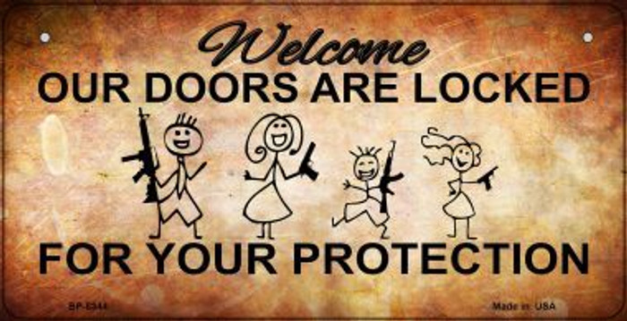 Doors Locked Your Protection Novelty Metal Bicycle Plate BP-8344