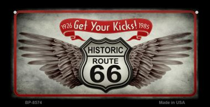 Route 66 Wings Get Your Kicks Novelty Metal Bicycle Plate BP-8574