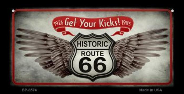Route 66 Wings Get Your Kicks Novelty Metal Bicycle Plate BP-8574