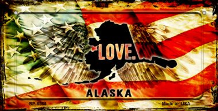 Alaska Love & Wings Novelty Metal Bicycle Plate BP-8588