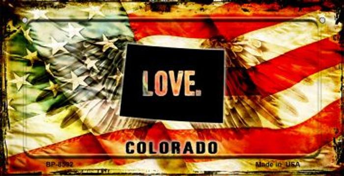 Colorado Love & Wings Novelty Metal Bicycle Plate BP-8592