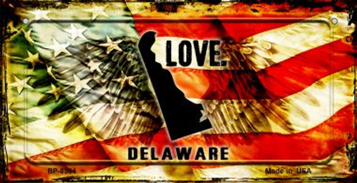 Delaware Love & Wings Novelty Metal Bicycle Plate BP-8594