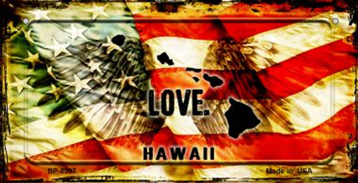 Hawaii Love & Wings Novelty Metal Bicycle Plate BP-8597