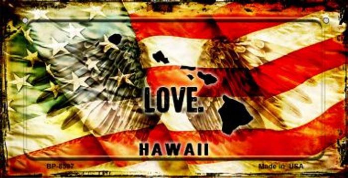 Hawaii Love & Wings Novelty Metal Bicycle Plate BP-8597