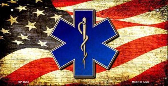 EMT Logo With USA Flag Novelty Metal Bicycle Plate BP-8642